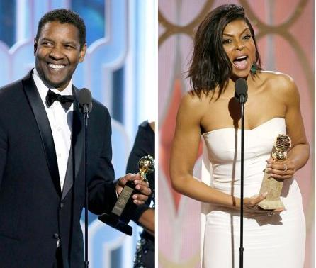 2016 Golden Globe winners Denzel Washington and Taraji P. Henson (photo via eurweb.com)
