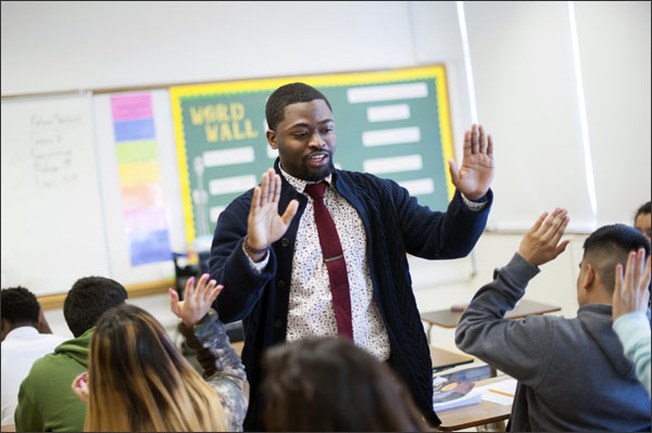 World History teacher Derrick Sanders on Thursday, January 7, 2016. Mr. Sanders, whom graduated from Howard University, is in his first year of being a teacher with the Teach For America program in Dallas. (photo: Brandon Thibodeaux for Education Week)