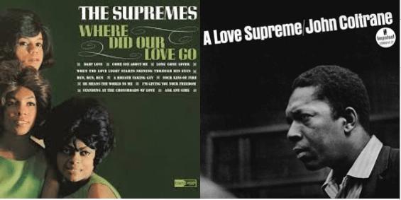 The Supremes (l) and John Coltrane (r)