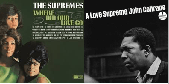 The Supremes (l) and John Coltrane (r)