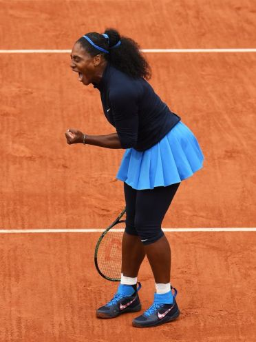 Serena Williams (USA) reacts after defeating Kiki Bertens (NED) to advance to the 2016 French Open Final. (Photo: Susan Mullane, USA TODAY Sports)