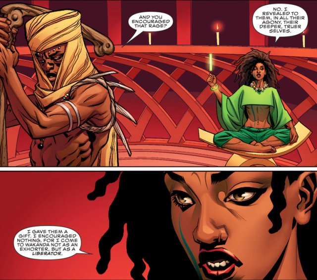 Zenzi, in green, a revolutionary in Wakanda, the home of the Black Panther. (Photo via Marvel Entertainment)