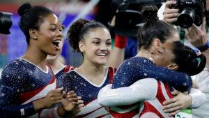 Final Five celebrates (photo via nbcolympics.com)
