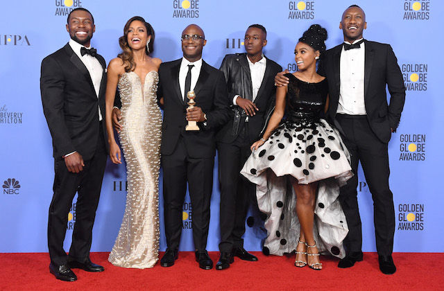 BEVERLY HILLS, CA - JANUARY 08: (L-R) Actors Trevante Rhodes and Naomie Harris, director Barry Jenkins, actors Ashton Sanders, Janelle Monae and Mahershala Ali of 'Moonlight,' winner of Best Motion Picture - Drama, pose in the press room during the 74th Annual Golden Globe Awards at The Beverly Hilton Hotel on January 8, 2017 in Beverly Hills, California. (Photo by Kevin Winter/Getty Images)