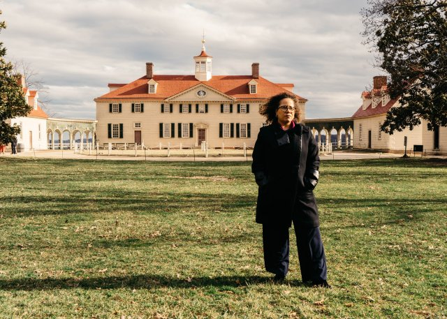 "Erica Armstrong Dunbar, the author of ""Never Caught: The Washingtons' Relentless Pursuit of Their Runaway Slave, Ona Judge,"" at George Washington's estate in Mount Vernon, Va. (Credit: Justin T. Gellerson for The New York Times)"