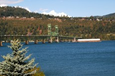 The Hood River Bridge and Columbia River from the deck of The Riverside Restaurant