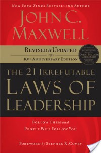 The 21 Irrefutable Laws Of Leadership by John C. Maxwell is about 21 different practices you should put into place if you want to be an effective leader.