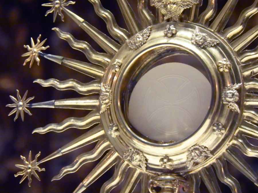 shiny monstrance in catholic church