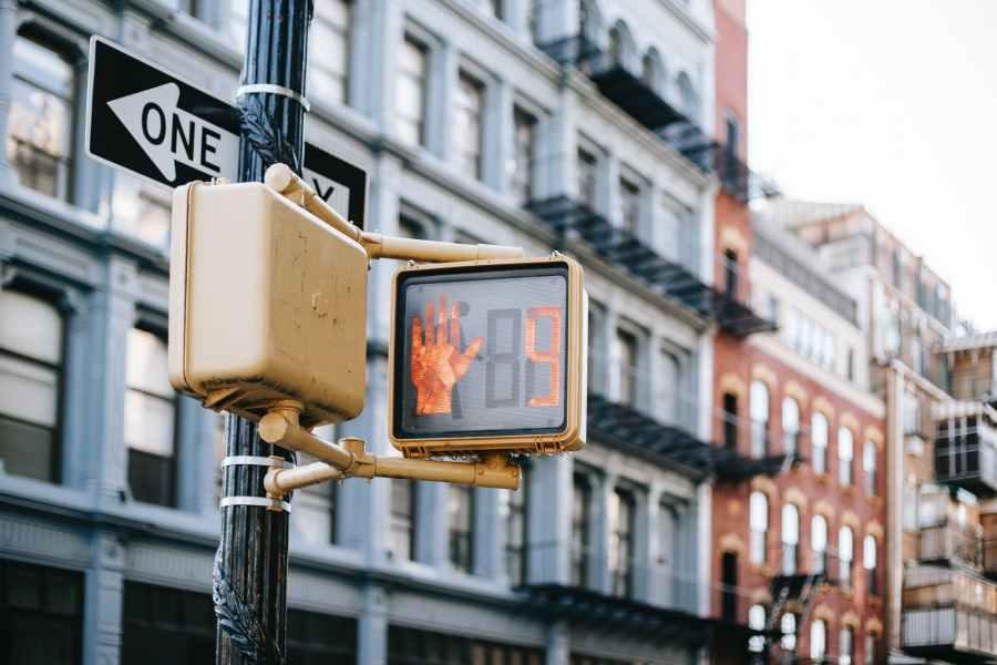 modern traffic light on city street