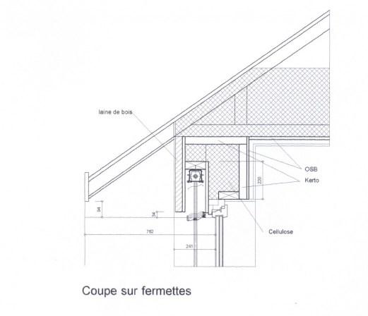 Coupe de l'isolation du toit de la maison passive
