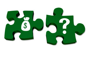 Green puzzle pieces with symbols of a money bag and question mark isolated over white, Understanding your money and savings