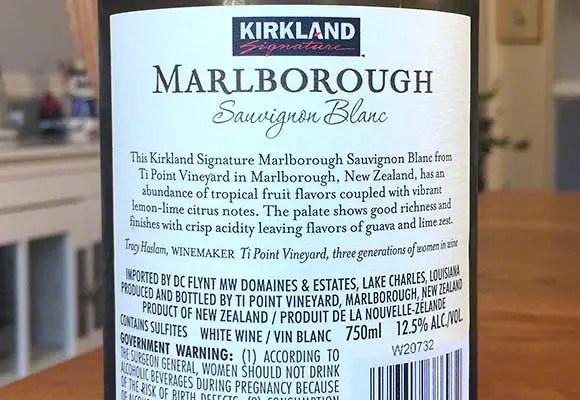 Back label 2016 Kirkland Signature Savignon Blanc Ti Point Vineyard