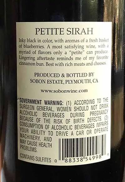 Back Label Sobon Petite