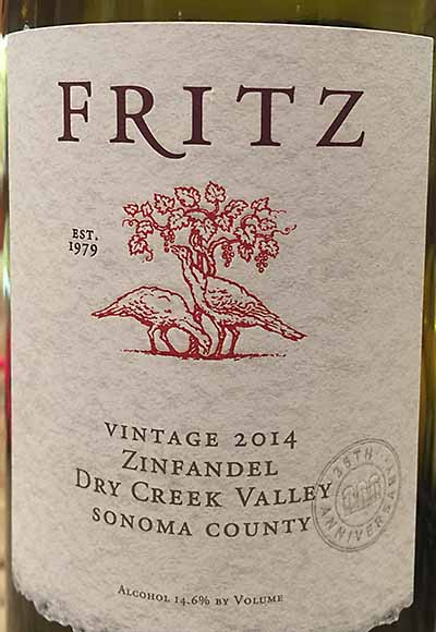 Fritz 2014 Dry Creek Vallley Zinfandel