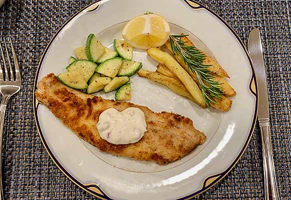 Pan-Fried Petrale Sole with veggies and oven baked fries