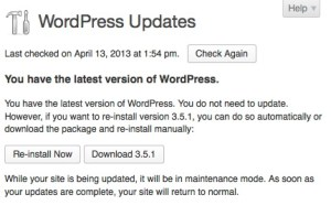WordPress is up to date!