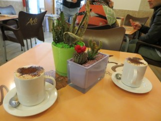 Found a table in a cute bar where we had lovely chocolate-topped cappucini.