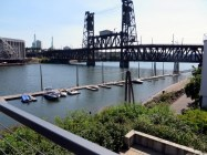 Our temporary home, an urban apartment on the Willamette River. The Steel Bridge is incredibly busy.