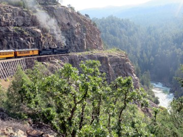 The D&SNGRR chugs along about 200 feet above the Animas River.