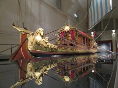 """Bucintoro commissioned by a Savoy in the early 18th century. It is HUGE, a """"state barge"""" of the type used by the Doges in Venezia, hosed in the gigantic stables at La Venaria.."""