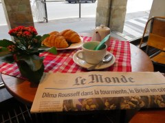 Late morning croissants at a darling cafe and art gallery near Notre Dame.