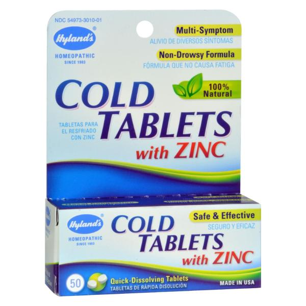Hyland's Cold Tablets With Zinc - 50 Quick Disolving Tabl %count(alt)