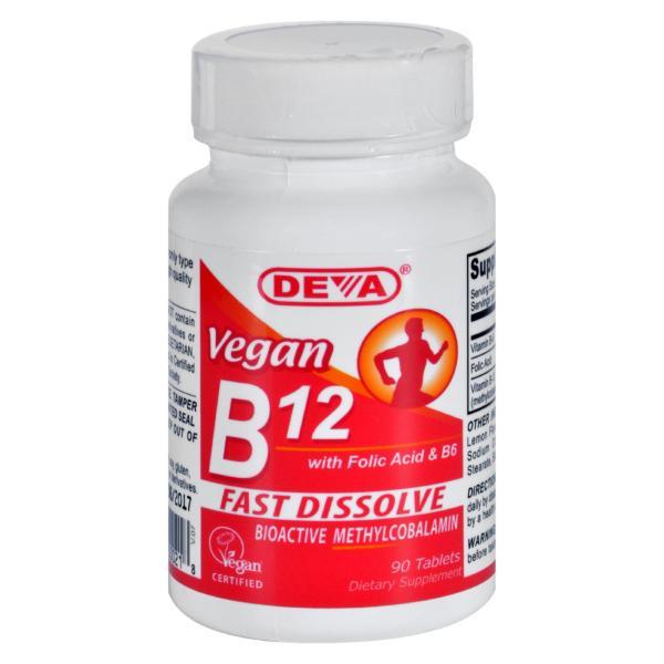 Deva Vegan Vitamins - B12 Sublingual - 90 Sublingual Tablets %count(alt)
