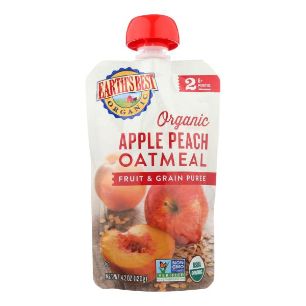 Earths Best Baby Food - Organic - Fruit and Grain Puree - Pouch - Age 6 Months Plus - Stage 2 - Apple Peach Oatmeal - 4.2 oz - case of 12 %count(alt)