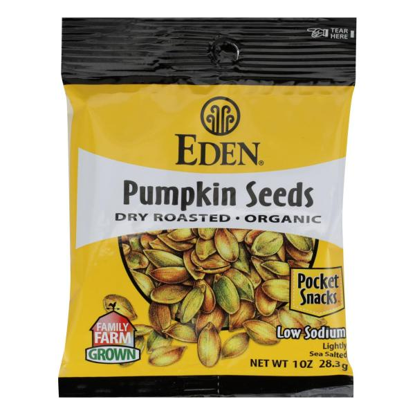 Eden Foods Organic Pocket Snacks - Pumpkin Seeds - Dry Roasted and Salted - 1 oz - Case of 12 %count(alt)