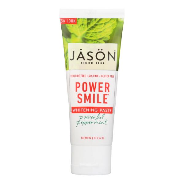 Jason Natural Products Toothpaste - Powersmile - Antiplaque and Whitening - Powerful Peppermint - Fluoride-Free - 3 oz - case of 12 %count(alt)