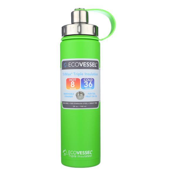 Ecovessel Boulder Mile High Green Water Bottle - Case of 6 - 24 OZ %count(alt)