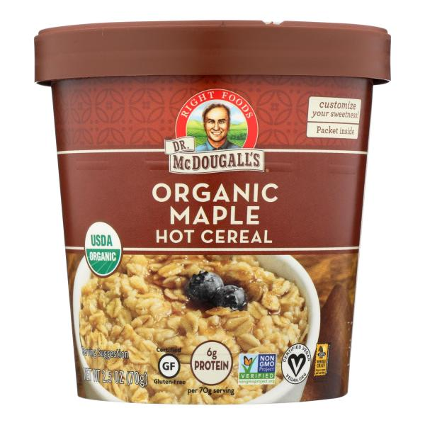 Dr. McDougall's Organic Maple Hot Cereal Cup - Case of 6 - 2.5 oz. %count(alt)