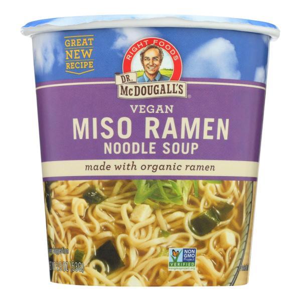 Dr. McDougall's Vegan Miso Ramen Soup Big Cup with Noodles - Case of 6 - 1.9 oz. %count(alt)