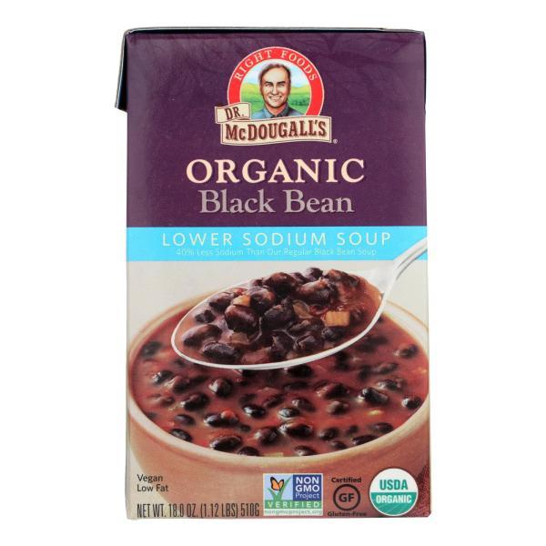 Dr. McDougall's Organic Black Bean Lower Sodium Soup - Case of 6 - 18 oz. %count(alt)