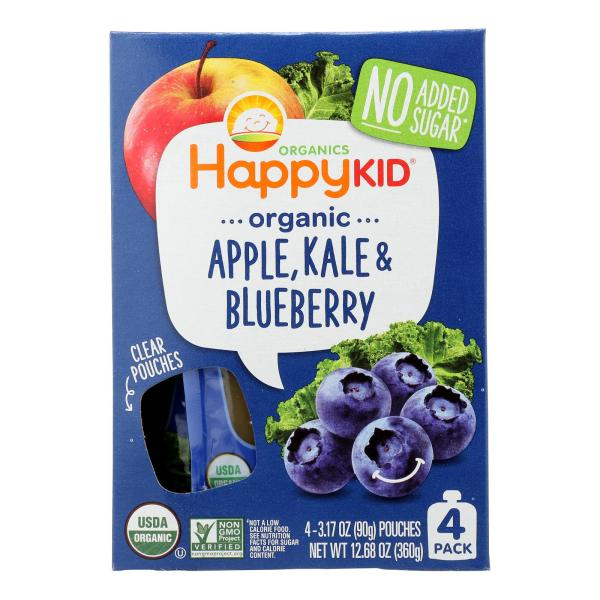 Happy Squeeze Fruit and Veggie Snack - Organic - Blended - Twist - Apple Kale and Blueberry - 4/3.17 oz - case of 4 %count(alt)