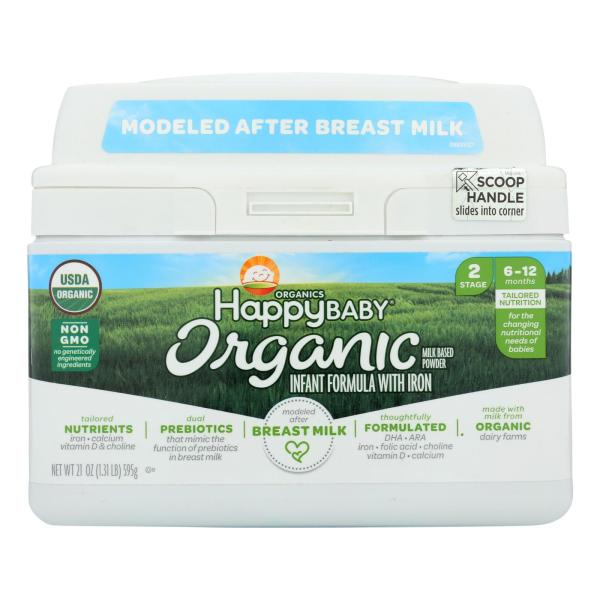 Happy Baby Organic Infant Milk Based Formula Powder - with Iron - Case of 4 - 21 oz %count(alt)
