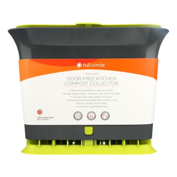 Full Circle Home - Fresh Air Counter Compost Collector - Green - Case of 4 - Count %count(alt)