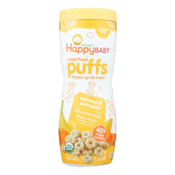 Happy Baby Organic Puffs Banana - 2.1 oz - Case of 6 %count(alt)