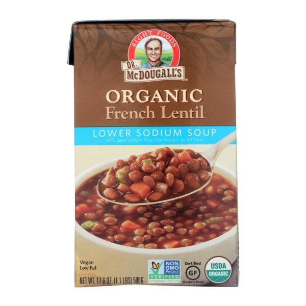 Dr. McDougall's Organic French Lentil Lower Sodium Soup - Case of 6 - 17.6 oz. %count(alt)