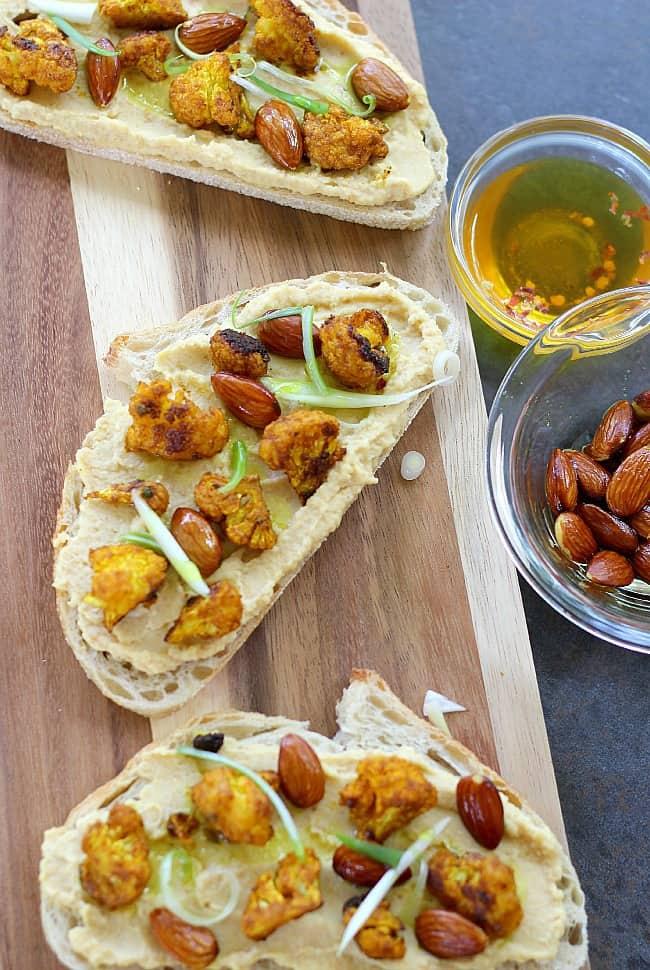 Cauliflower Tartine with Hummus and Almonds