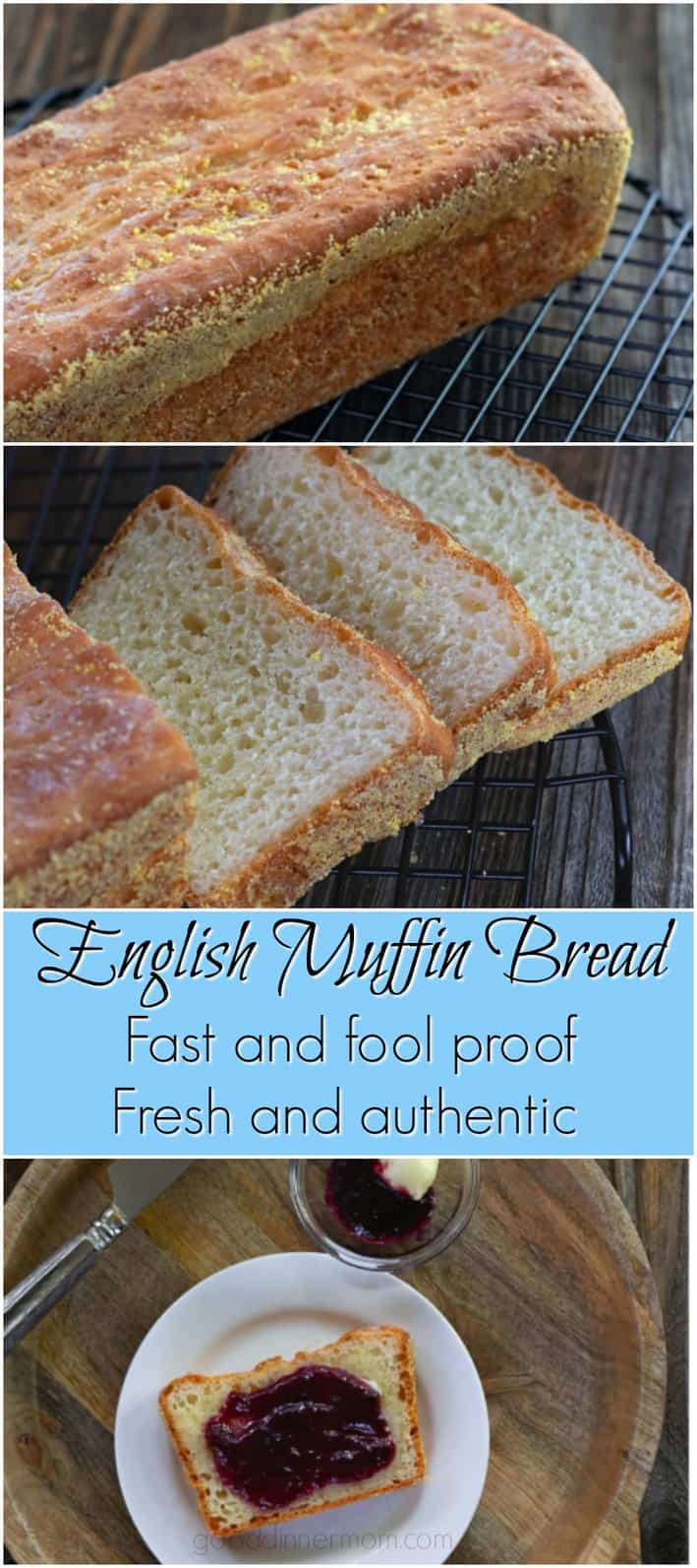 English Muffin Bread is ready in no time, tastes just like a fresh English muffin. Perfect for toasting, Benedicts, or sandwiches. #muffins #Englishmuffin #toast #eggsbenedict #sandwiches #breakfast #lunch #30minutesorless