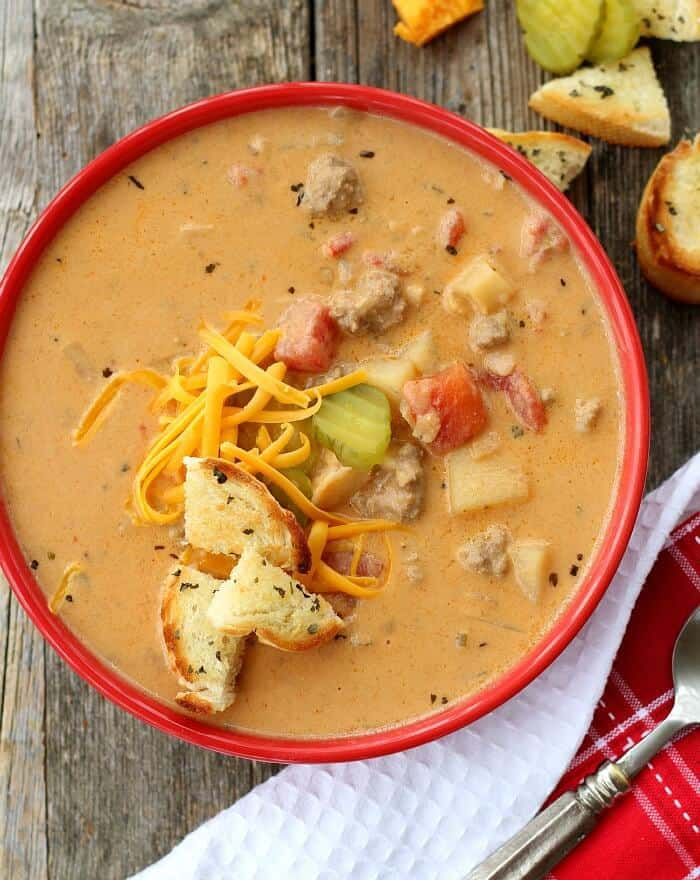 Classic Cheeseburger Soup tastes JUST LIKE an All-American drive in Cheeseburger. And it's start to finish in 30 minutes!