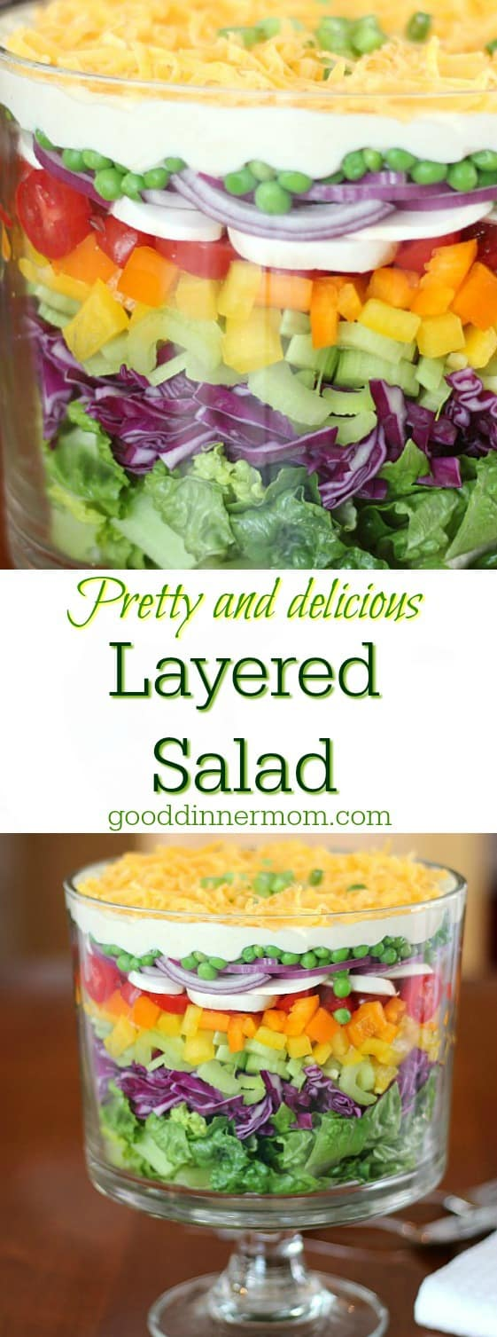 Beautiful colors in a trifle bowl make this Layered Salad the centerpiece for any dinner party. Use whatever veggies you like.