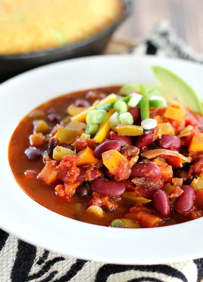 Hearty Vegan chili with fresh vegetables and legumes. This is one of the most flavorful chili dishes you will ever taste. Made mild or hot to your liking.