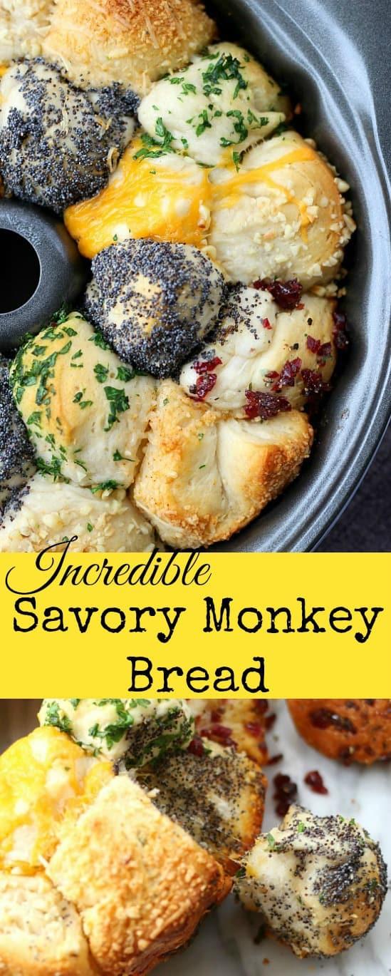 Incredible Savory Monkey Bread #monkeybread #quickbread #pullapartbread #sidedishes #bread #rolls