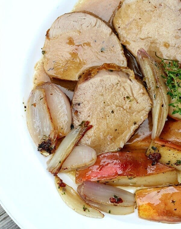 Pork Tenderloin with Pears and Shallots is THE most tender pork roast. Roast in a high heat oven quickly or slow roast in a low oven for even more flavor.
