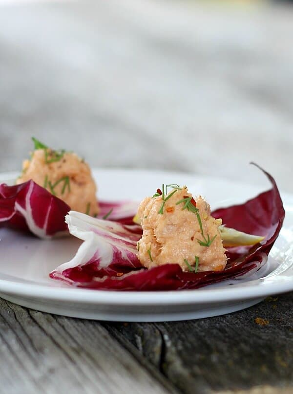 Salmon Pate' is served on your choice of crackers, artichoke leaves or lettuce. A fresh, healthy appetizer using canned wild salmon that looks pretty, too!