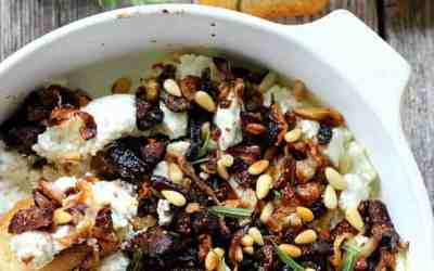 Baked Goat Cheese with Caramelized Onions, Garlic and Dried Figs