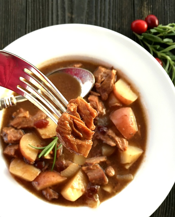 Cranberry Beef Stew is one of the easiest meals for the slow cooker. Rich, fork-tender beef and flavorful veggies. Easy prep for a fantastic, hearty stew.