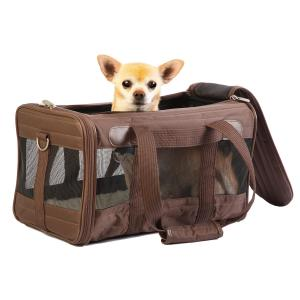 view with dog sherpa-travel-original-deluxe-dog-carrier-brown-6976